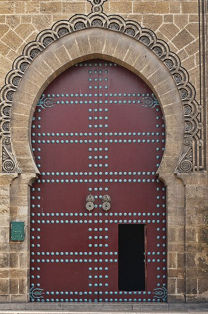 door at the Mahakma du Pasha courts building in the Quartier Habous in Casablanca, Morocco by jitenshaman, via Flickr
