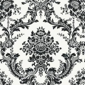 yesPowder Room, Decor Ideas, White Damasks, Black And White, Crafts Room, Accent Wallpapers, Home Depot, Damasks Pattern, Damasks Wallpapers