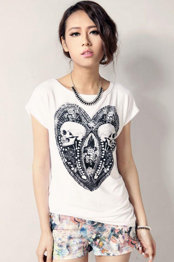 Chic Skull Print Tee - OASAP.com