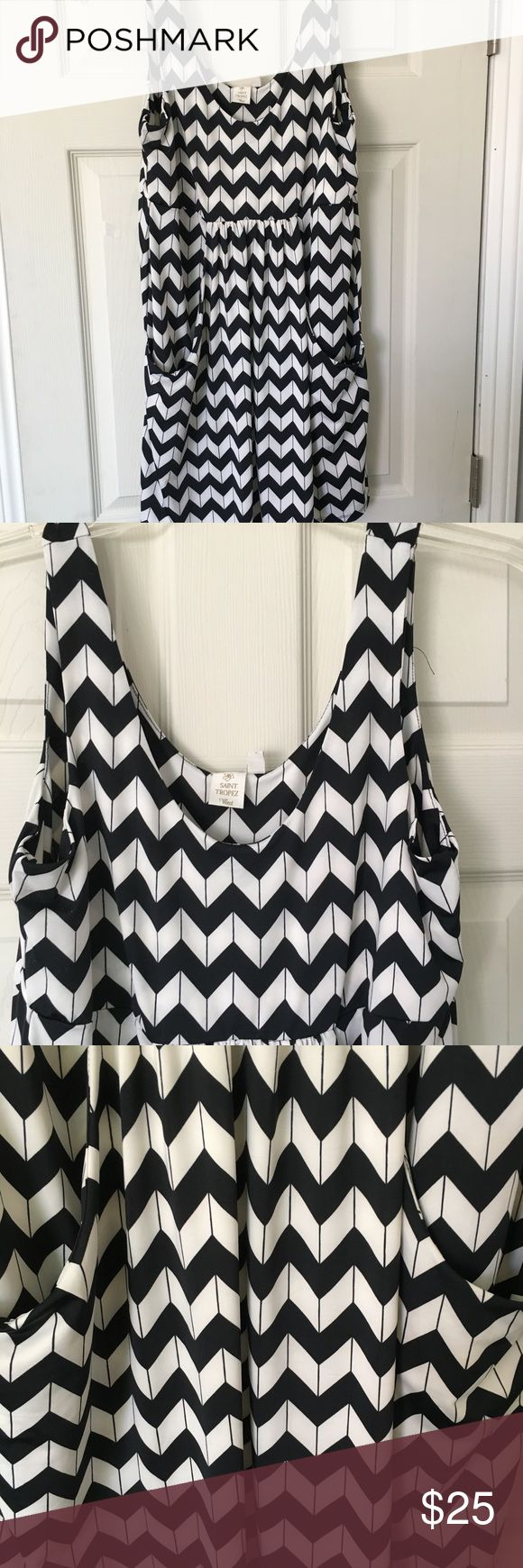 Lovely Chevron Print Bathing Suit Cover-up/Dress Worn once. Like new! Has two pockets in front. Bathing suit material. Super, super Cute on. Saint Tropez West Dresses