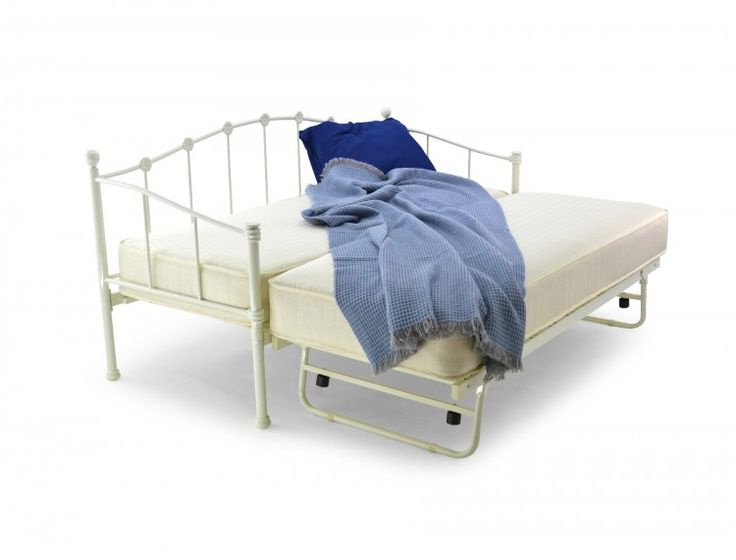 Metal Beds Paris 2ft6 (75cm) Small Single Ivory Metal Day Bed Frame by Metal Beds Ltd