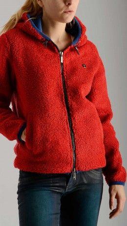 Faux sherpa hoodie in red