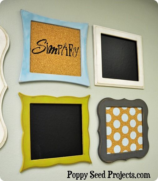 perfect for any room in a house, you could keep them all the frames plain or you could make it a chalk board.