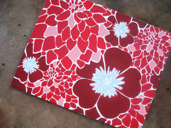 Bright+Blooms++Red+Pink+Blue+16x20+Acrylic+Painting+by+202designs,+$76.95