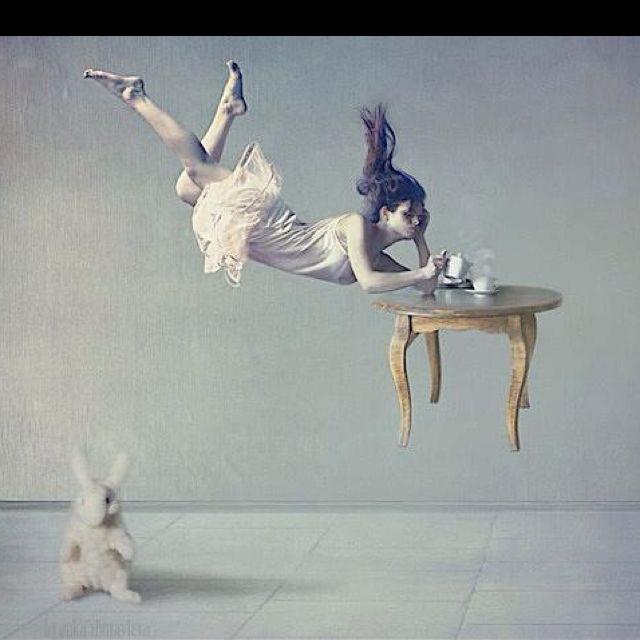 Floating girl in thought. Love her pose. Wonderland, Tea, Surreal, Dreamer