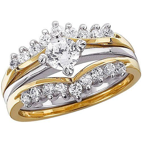 The 102 Carat TGW CZ Two Tone Wedding Ring Set