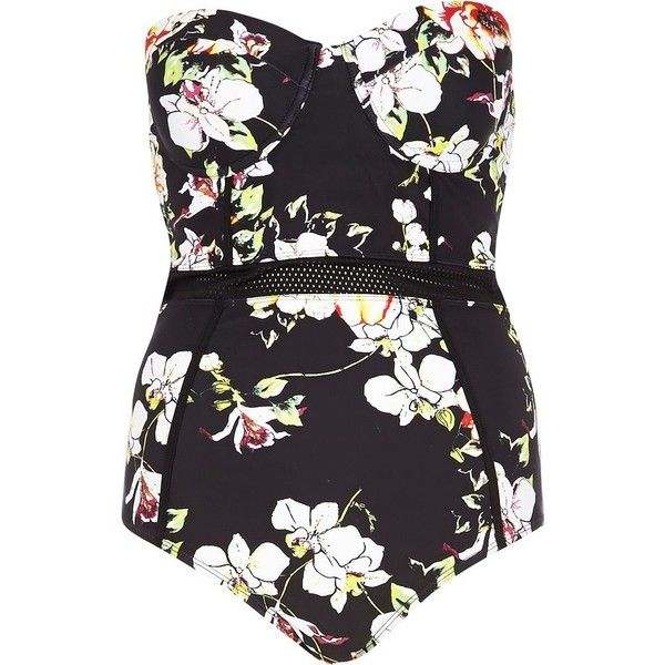 River Island Black floral mesh insert swimsuit ($50) ❤ liked on Polyvore featuring swimwear, one-piece swimsuits, swimsuits, bodysuits, swim, tops, tummy control swimsuits, 2 piece bathing suits, two piece swimwear and floral one piece swimsuit
