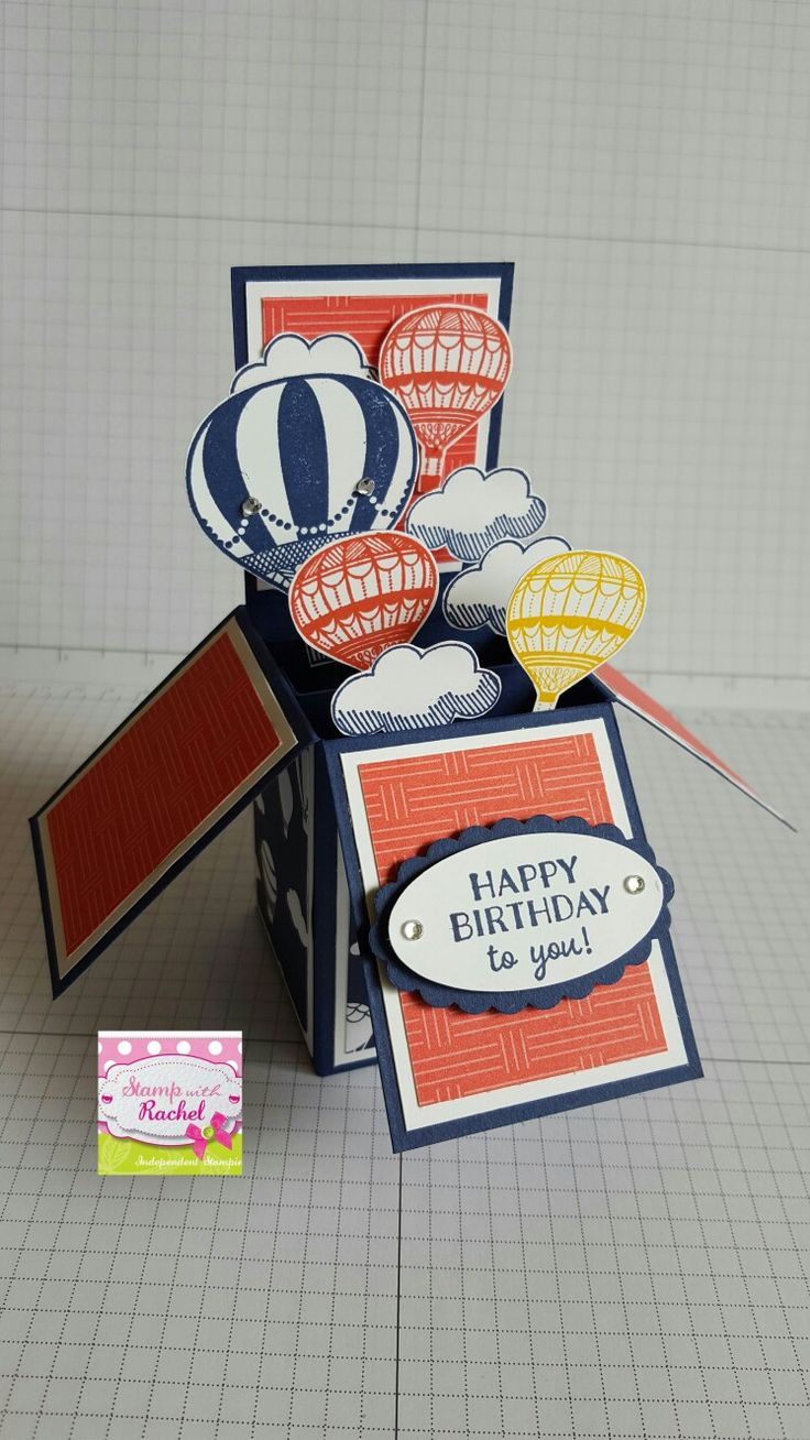 Lift Me Up! stampin' up!stampset & Carried away designer series paper. super cute card in a box card i made using new goodies - Stamp With Rachel -