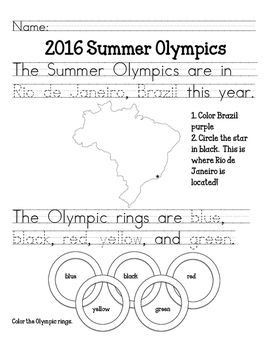 Introduce the Summer Olympics to your students!Includes:- Where the 2016 Olympics are (trace city and country; color country)- The Olympic Rings' colors (trace colors and color rings)- The Olympic Medals (trace colors and color medals)- Semi-Written sentence: If I were in the Olympics, I would compete in___________. (students fill in the sentence and draw a picture of themselves.**Also includes word cards for each Summer Olympic sport.