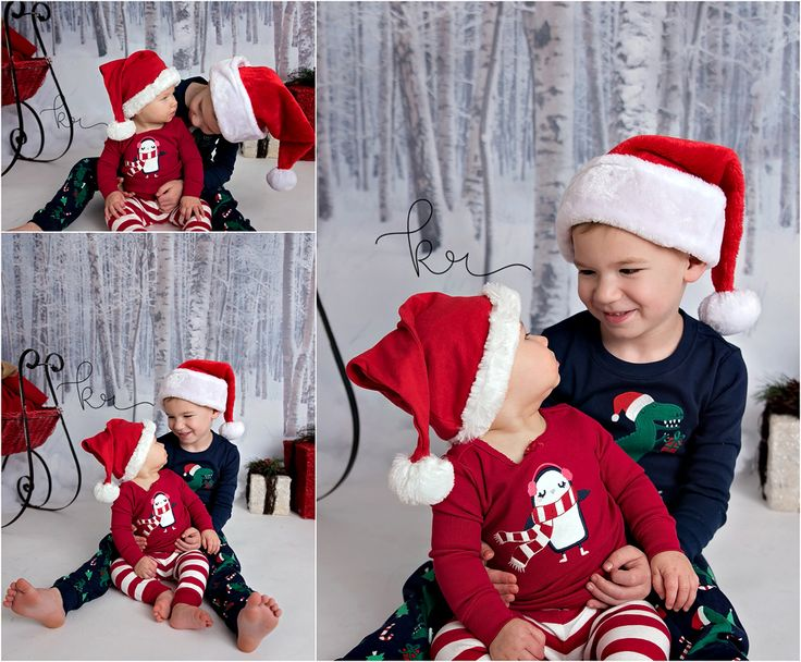 siblings, family, big brother, little sister, santa hat, holiday, christmas, winter, presents, sled, pajamas, photos, photography, baby girl