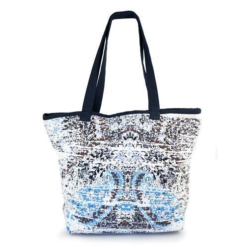 BORSA RANCIE - Capiente e graziosa borsa con stampa sfumata nel colori dell'azzurro e del bianco con fodera interna. Chiusura con zip. Composizione: 100% cotone.