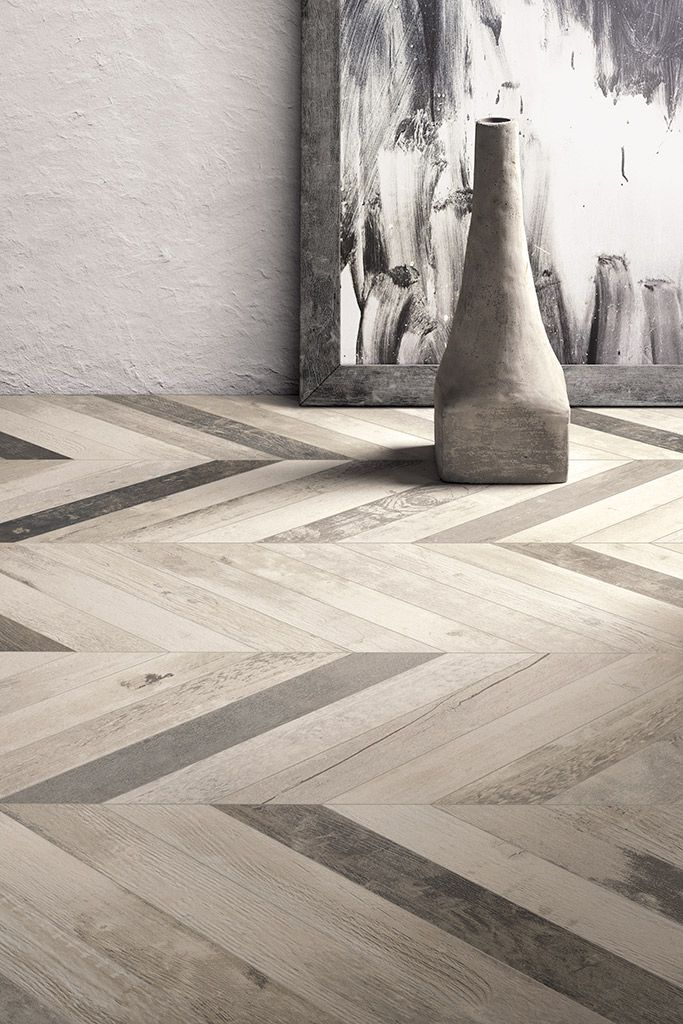 CHEVRONCHIC #wood-effect #porcelain #stoneware is inspired by old wooden floors, with clear signs of changing colour #shades after layers of wax and stains.