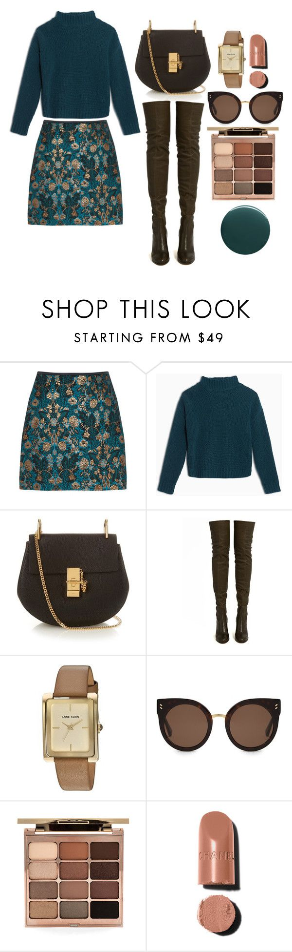 """brown&teal"" by nover on Polyvore featuring Max&Co., Chloé, ALEXA WAGNER, Anne Klein, STELLA McCARTNEY, Stila and Deborah Lippmann"