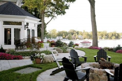 fire pit and yard: Fire Pits, Lake Houses, Idea, Martin Bros, Dream, Traditional Porch, Firepit, Outdoor Spaces, Photo