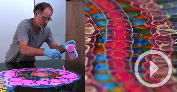 Chicago-based artist Bruce Riley fills canvases with abstract organic forms made from layer after layer of dripped paint and poured resin. While looking at images of his work online, it's difficult to grasp the depth and scale of each piece which can be penetrated by light from multip