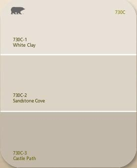 The paint colour that we've chosen is Behr Sandstone Cove (middle)
