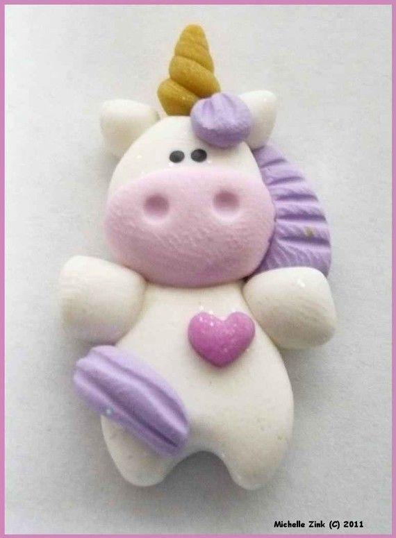 Polymer Clay Bead or Bow Center Unicorn