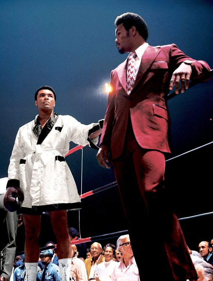The expressions, the simmering contempt, the outfits, the saturated colours – what's not to love about this image of Ali and George Foreman, taken before Ali's second fight with Jerry Quarry?