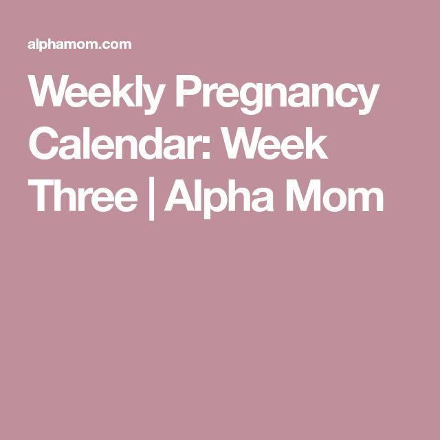 Weekly Pregnancy Calendar: Week Three | Alpha Mom