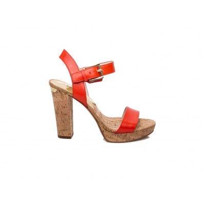MICHAEL KORS - London sandal with cork heel in leather orange - Elsa-boutique.it
