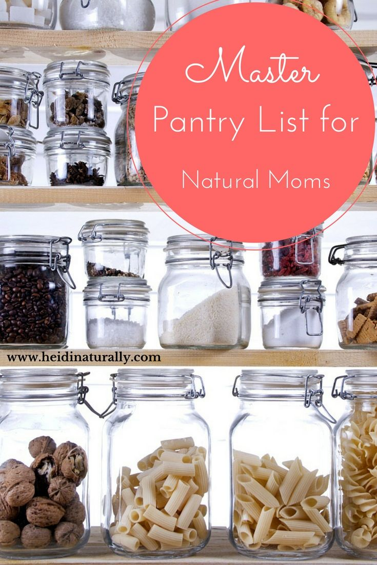 Find out what to store in your pantry for optimal wellness. Learn what items to purchase to help your family eat healthy and avoid bad foods. #masterpantrylist #pantry #pantrylist #dairy #baking #grains #fruits #vegetables #healthyfood #meat #nutbutter #oils #fats #snacks #spices #sweeteners #healthyeating #naturalmom #momtips #healthymom #healthyfamily #momlife #healthydinner #healthtips #familywellness #busymom #healthylife via @heidinaturally