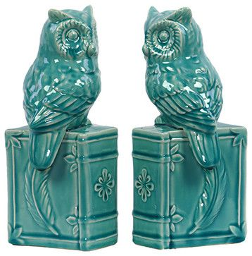Owl Bookends-Turquoise - transitional - Bookends - Pizzazz! Home Decor, LLC