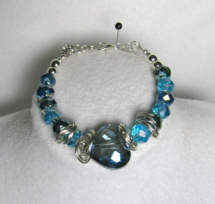 Item 1364a - Beautiful AB Crystal Cut Blue Hearts, Crystal 12mm Beads, ChainMail to Flatter Bracelet $36 + $4 S&H. (see matching necklace)  Visit all my BEAUTIFUL jewelry pages, just follow the link: https://www.facebook.com/linda.foust.9?sk=photos...