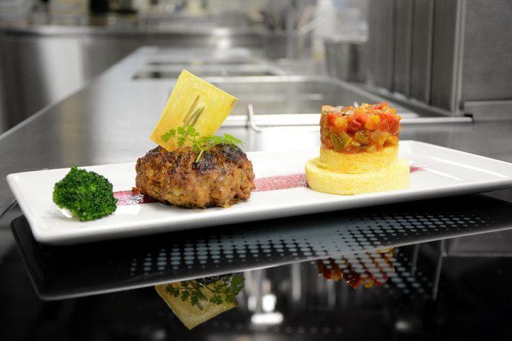 Rissole with Polenta and ratatouille #restauranttaverne #hotelinterlaken