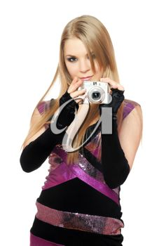 Royalty Free Photo of a Young Woman Holding a Camera