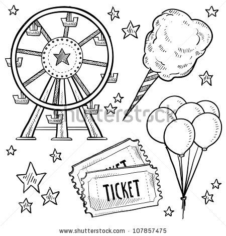 Doodle style amusement park or carnival equipment sketch in vector format. Includes cotton candy, ferris wheel, balloons, and ticket. by LHF...