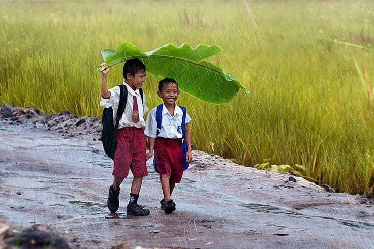 That is what friends are for: two-kids-under-a-banana-leaf-in-the-rain-indonesia