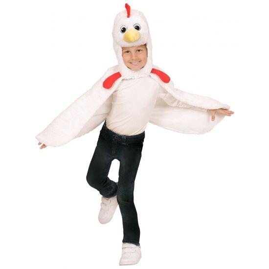 Verkleed cape kip voor peuters. Deze verkleed cape met capuchon is geschikt voor kinderen van 2 tot 4 jaar. De cape is gemaakt van pluche stof.