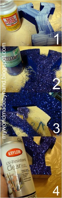 How to modge podge glitter that wont fall off: Modg Podge, Diy Crafts, Mod Podge, Podge Glitter, Wont Fall, Tables Numbers, Glitter Letters, Girls Rooms, Craftss
