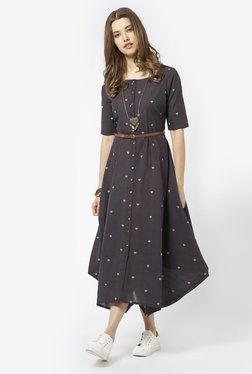 5be43a74bf18 Bombay Paisley by Westside Dark Grey Dress with Belt | MY STYLE ...