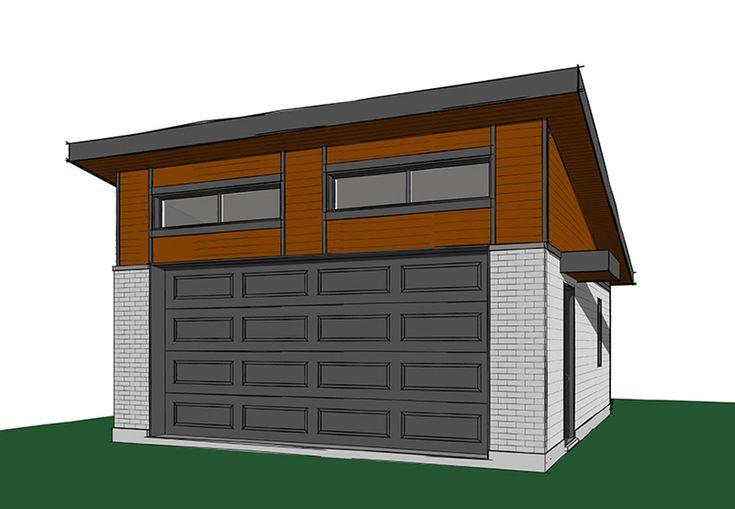 Single Slope Roof Garage Sayer Modern 2 Car Garage Plan