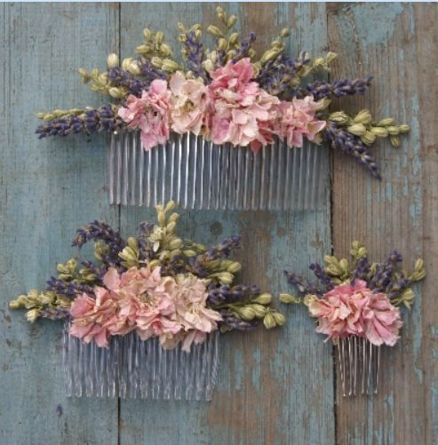 Wedding hair accessories- dried lavender and larkspur