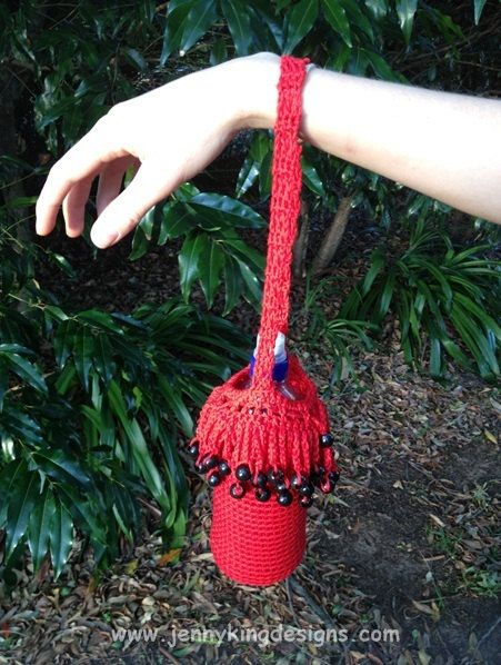 Cotton crocheted water bottle holder with beads  - available via etsy