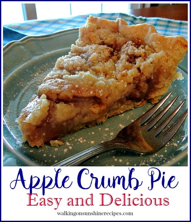 If you love apple crisp, you're going to love this apple crumb pie recipe from Walking on Sunshine Recipes.