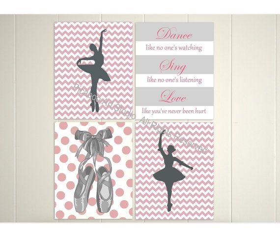 Ballerina wall art, chevron art, ballet dancer, inspirational dance quotes, nursery patterns, girls room art, nursery art, art print, baller