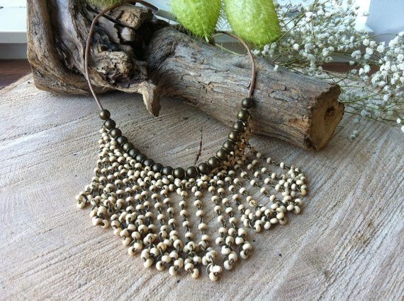 Hippie boho goddess wooden metal beaded necklace