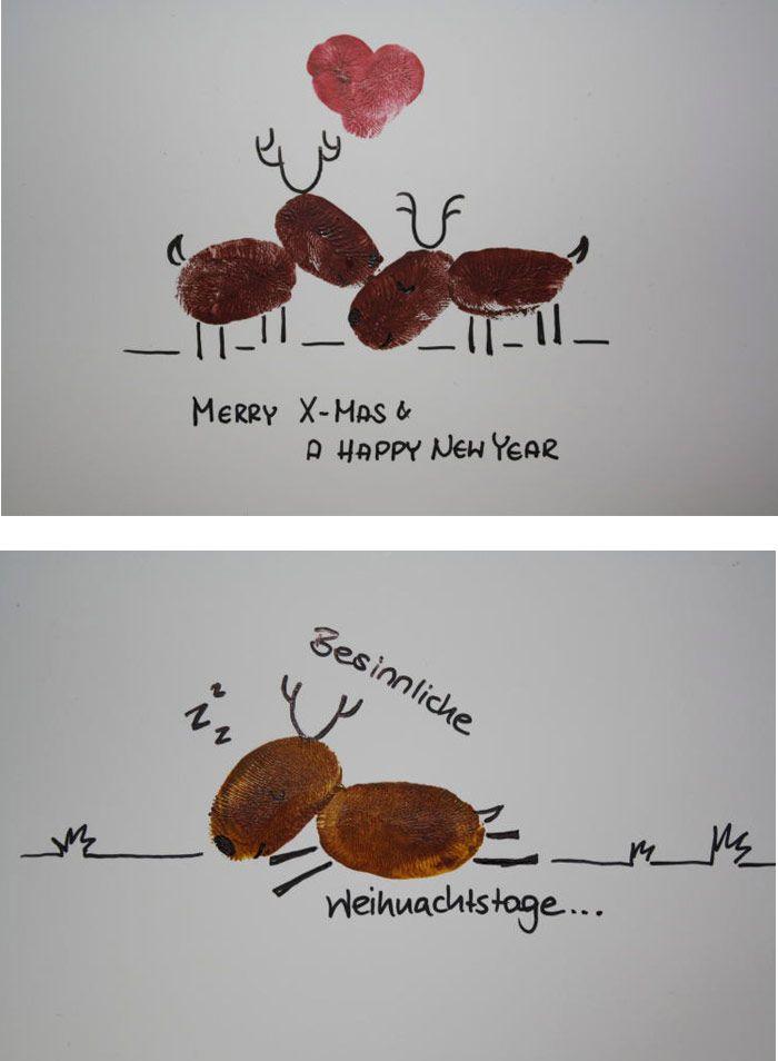Niedliche Elche mit Fingerabdrücken für die Weihnachtskarte gestalten! https://www.deindiy.de/weihnachtskarten-basteln/ #deindiy #weihnachtskarte #basteln