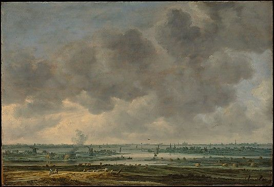 View of Haarlem and the Haarlemmer Meer. Jan van Goyen  (1596–1656) - Van Goyen recorded this small but extraordinary panoramic view from the belltower of the church of St. Bavo in Haarlem, but he arbitrarily placed the same building on the horizon like a signpost suggesting the general locale. Beyond the imaginary foregound, the river Spaarne meanders toward the Haarlemmer Meer (Haarlem Sea), an inland body of fresh water that was filled in during the nineteenth century.
