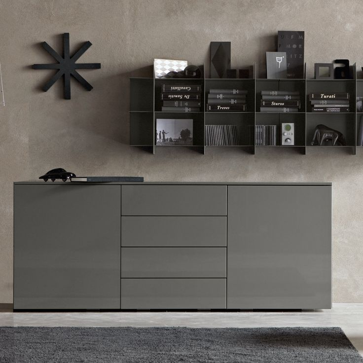 Grey high gloss Mix sideboard