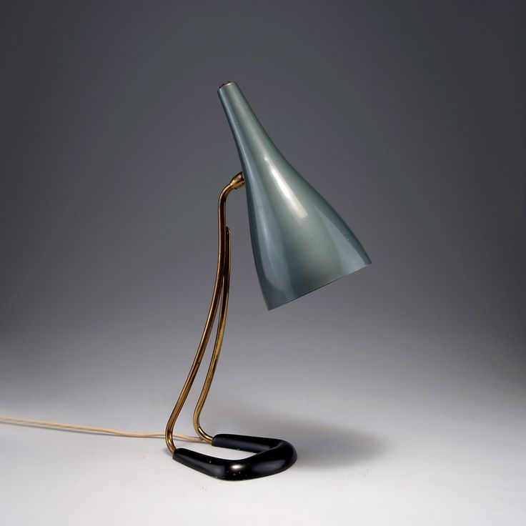 Anonymous; Brass and Painted Metal Table Lamp, 1950s.