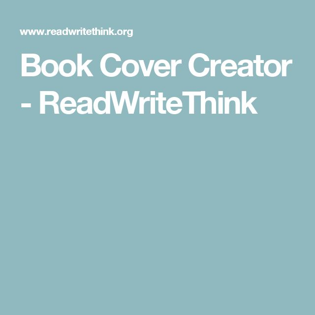 Book Cover Creator - ReadWriteThink