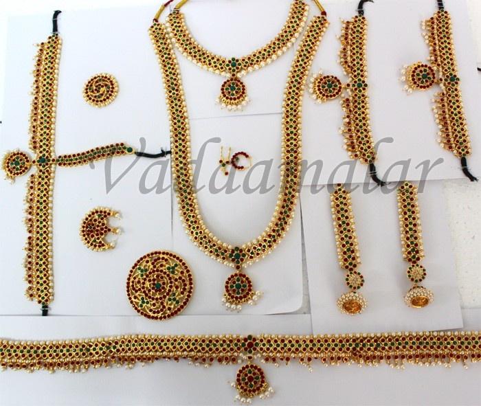 703633691b Ethnic Indian store. January 2019. Bharatanatyam dance ornaments jewel set  10 pcs Traditional Indian bridal wedding