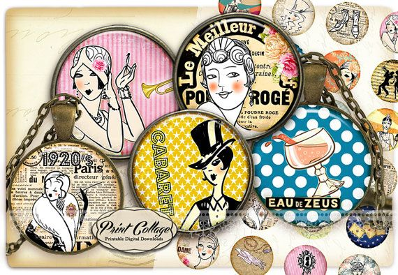 Art Deco Women Cabochon images Digital Download by PrintCollage