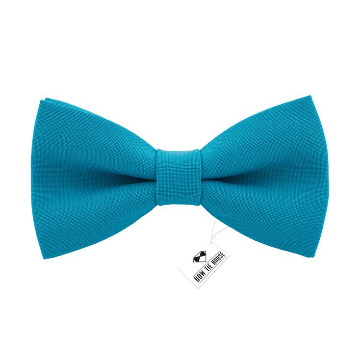 Solid pre-tied Avalon Teal Bow Tie in classic color gabardine fabric (Small, Medium, Large)