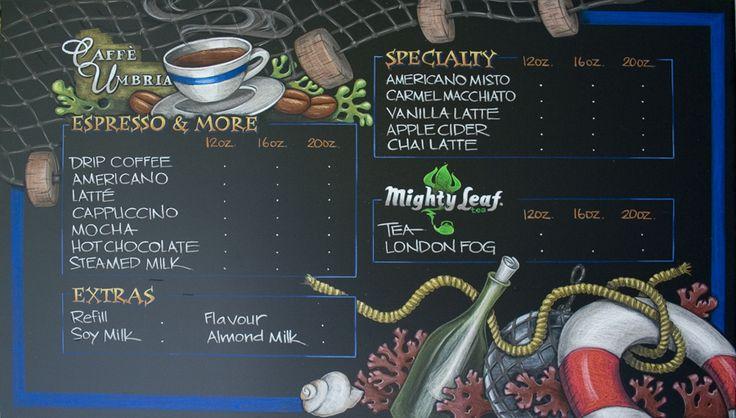Cafe Umbria Sidney vancouver Island menu Chalkboard