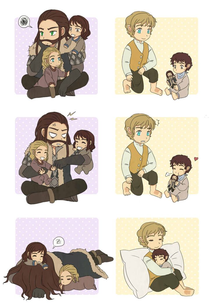 Thorin with little Fili and Kili, and Bilbo with little Frodo.. <3